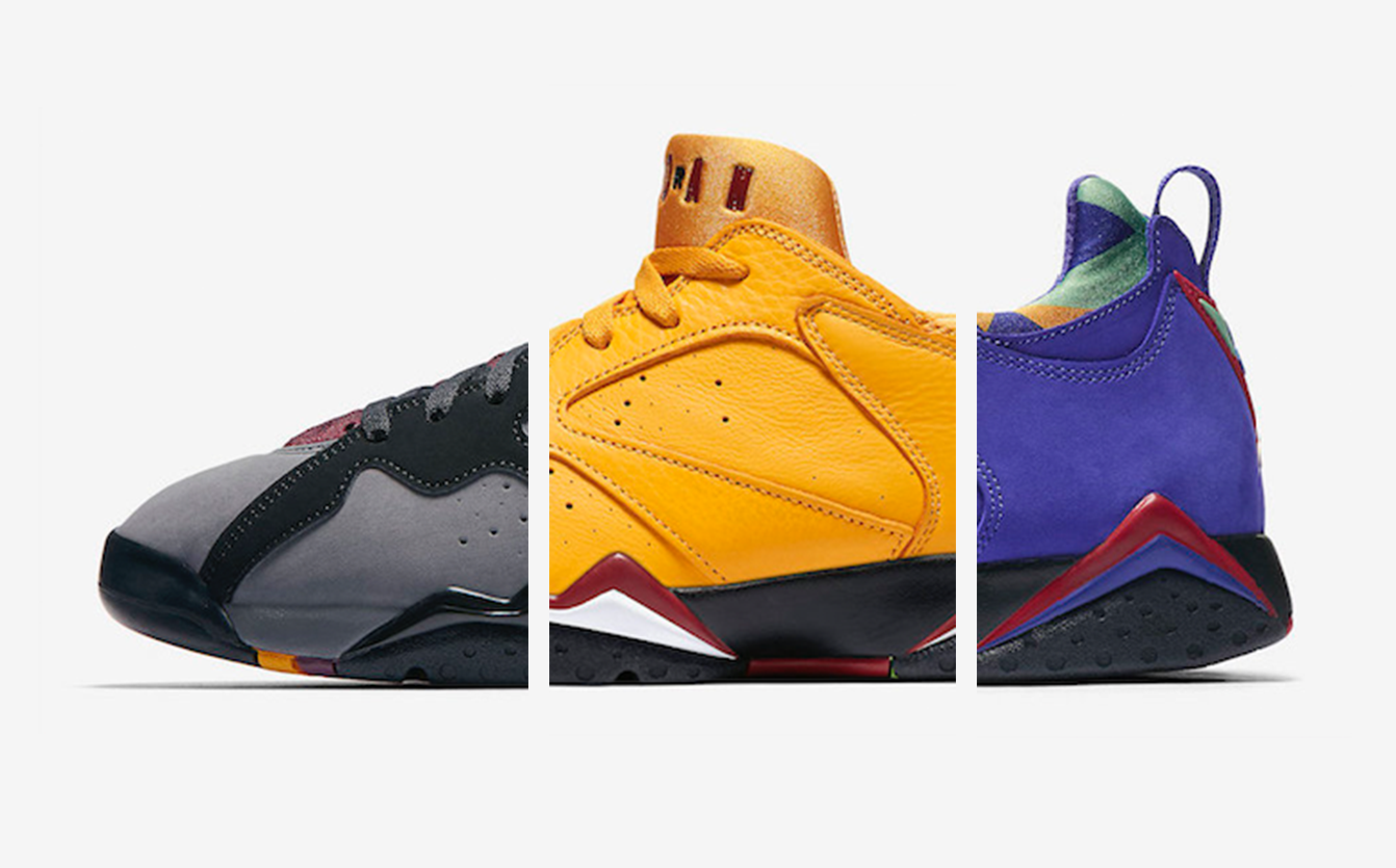 newest 3b533 b8735 Three new colorways for the Air Jordan 7 Low are set to drop later this  month. The pack will feature the OG-inspired Bordeaux edition that pays  homage to ...